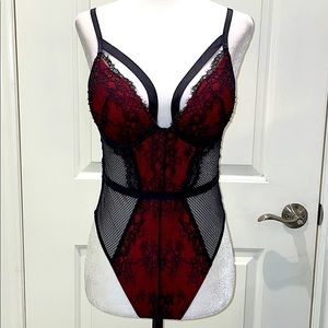 ♥️red lace padded bodysuit lingerie ♥️